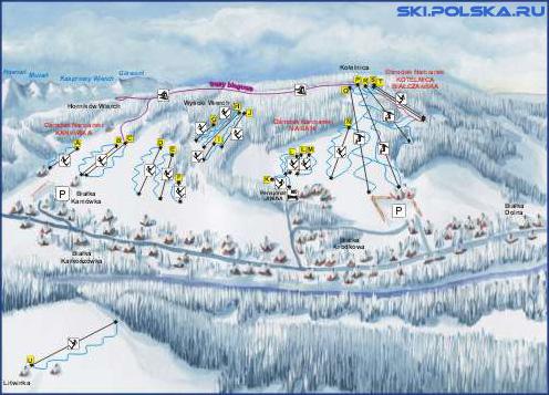 Карта горонолыжных трасс Балки