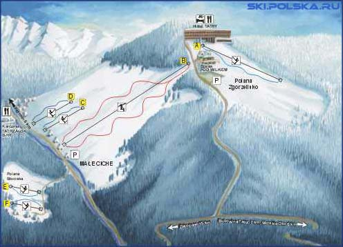 Карта горонолыжных трасс Мале
